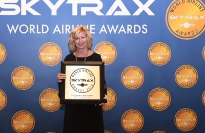 Janice Antonson, VP Commercial and Communications for Star Alliance at the 2018 Skytrax World Airline Awards ceremony.