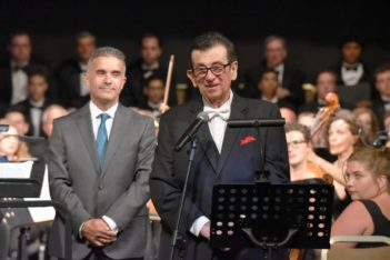 Conductor Peter Tiboris (right) and Mayor George Marangos (left) during the opening concert of the festival, at the Apollon Theatre Ermoupolis on Syros.