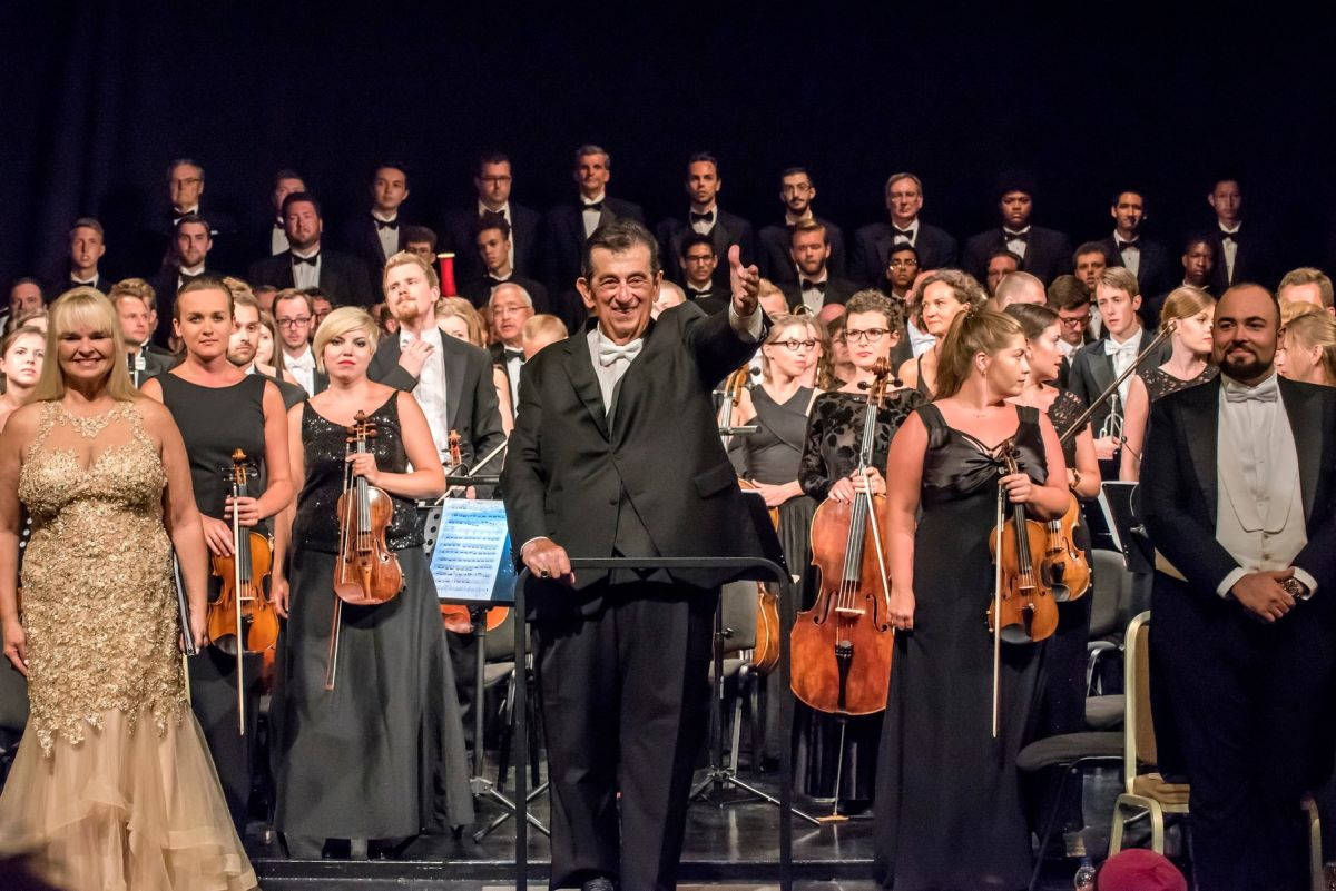The performers stand for a round of applause after an exciting performance of Rossini's Stabat Mater at the Apollon Theatre Ermoupolis on Syros.