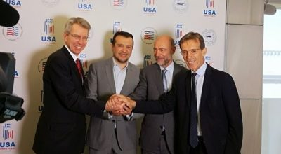 US Ambassador to Greece Geoffrey Pyatt; Digital Policy Minister Nikos Pappas; AmCham President Simos Anastasopoulos and TIF-Helexpo President Tasos Tzikas. Photo Source: @American-Hellenic Chamber of Commerce