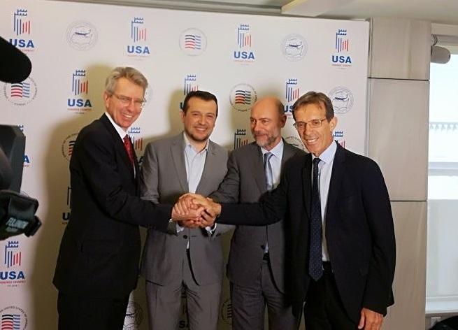 US Ambassador to Greece Geoffrey Pyatt; Digital Policy Minister Nikos Pappas; AmCham President Simos Anastasopoulos and TIF-Helexpo President Tasos Tzikas. Photo Source: @American-Hellenic Chamber of Commerce