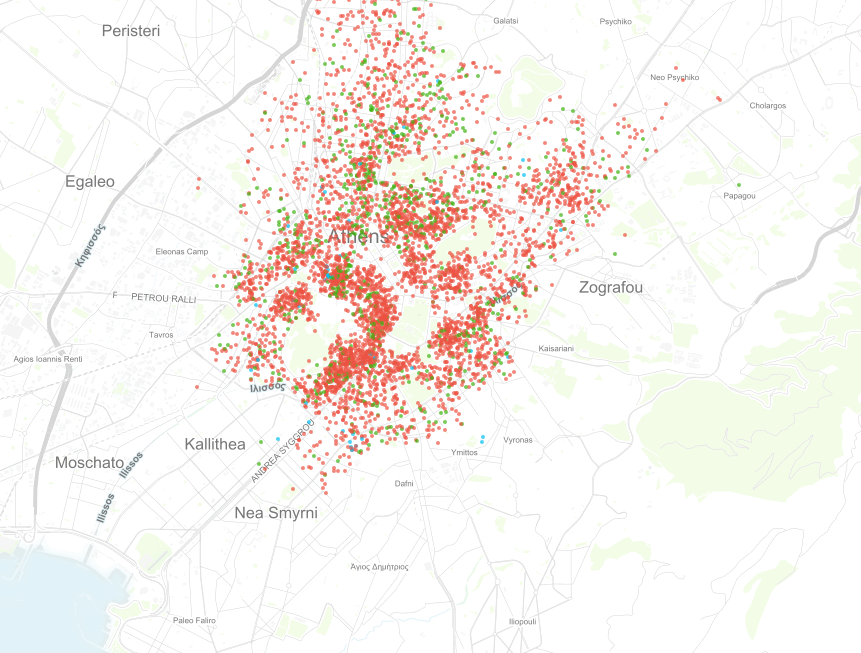 Map of Athens with Airbnb listings. Source: Inside Airbnb