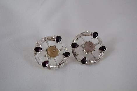 Iro Xenaki, Quartz Earrings, Silver 925, quartz and garnets.