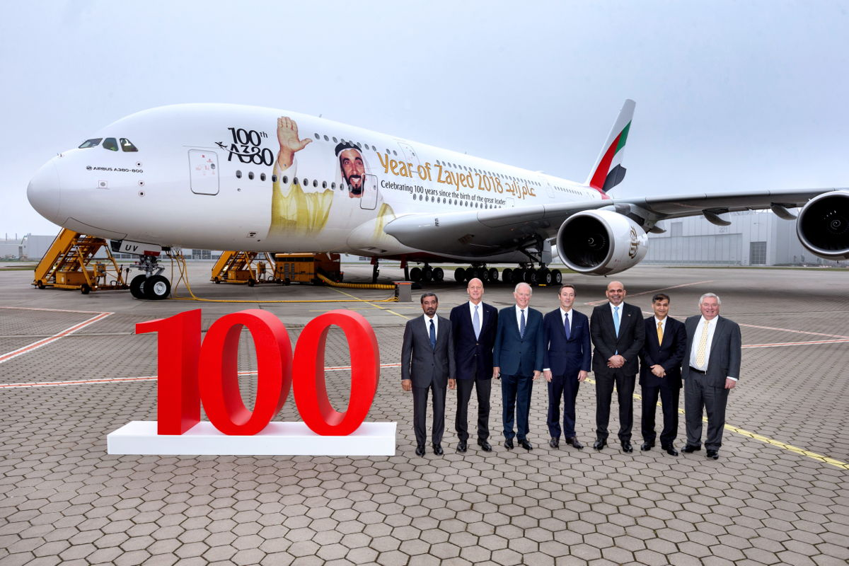 Emirates received its 100th A380 in November 2017. The 100th A380 pays a tribute to the founding father of the UAE, the late Sheikh Zayed bin Sultan Al Nahyan.