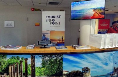 The tourist info point at the port of Patra. Photo source: Region of Western Greece