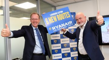 Luton Airport CEO Nick Burton and Ryanair CCO David O'Brien.