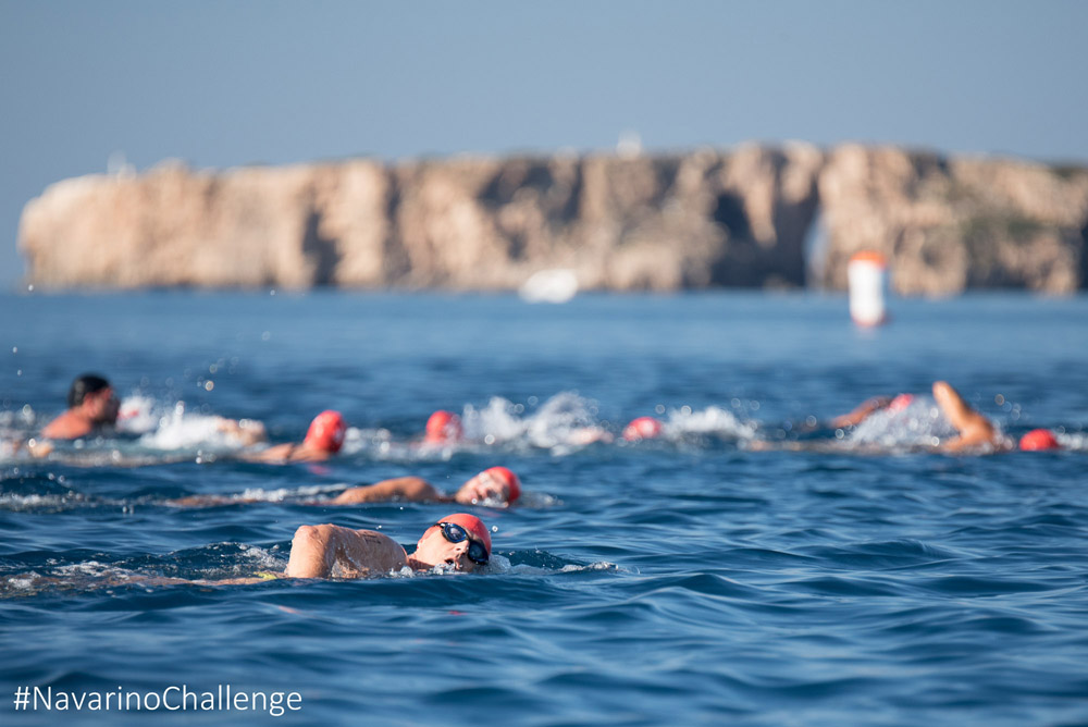 Open water swimming race at Navarino Bay, at the port of Pylos (photo by Elias Lefas).
