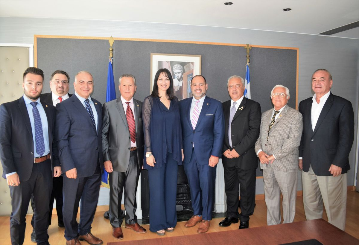 Greek Tourism Minister Elena Kountoura with AHEPA's new Supreme President George Loucas, General Manager Bill Moisiadis and board members.