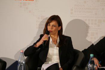 Greek Labor Minister Effie Achtsioglou. Photo by rosalux-stiftung