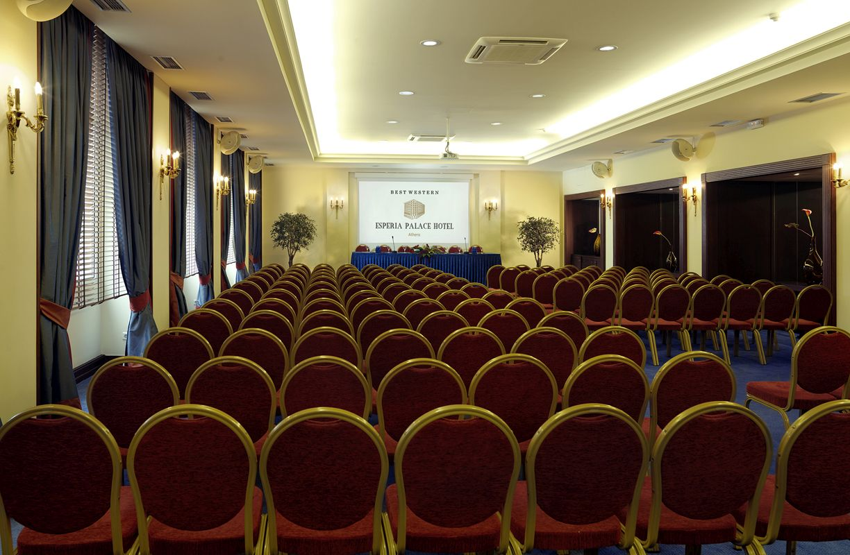 Conference room of the former Esperia Palace Hotel in Athens.