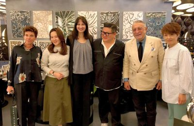 Greek Tourism Minister Elena Kountoura with Korea's fashion and pop music opinion leader Kee Jeongyun, Korea's ST. Dupont President Stavros Fironi and Ambassador of Greece to Korea Ifigenia Kontoleontos.