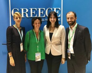 Tourism Minister Elena Kountoura with the head of Transavia France Nathalie Stubler and the GNTO Director for France Dimitra Voziki at the GNTO stand at the IFTM Top Resa 2018 in Paris.