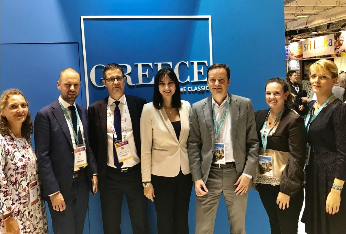 Greek Tourism Minister Elena Kountoura with TUI France General Manager Hans Van De Velde, Secretary General for Tourism Policy and Development George Tziallas, GNTO Director for France Dimitra Voziki and associates at the GNTO stand at the IFTM Top Resa 2018 in Paris.