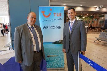 Fraport Greece's airport manager, Spyros Halkias and senior airline developer, Haris Filos.
