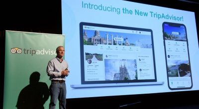 Stephen Kaufer, CEO & co-founder of TripAdvisor, introduces the new TripAdvisor travel feed in New York.