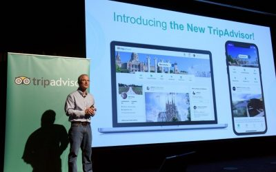 Stephen Kaufer, CEO & co-founder of TripAdvisor, introduces the new TripAdvisor travel feed in New York.