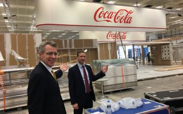Ambassador Pyatt with Consul General Pfleger at the preparations of U.S. Pavillion for Thessaloniki International Fair 2018. Photo source: US Embassy Athens