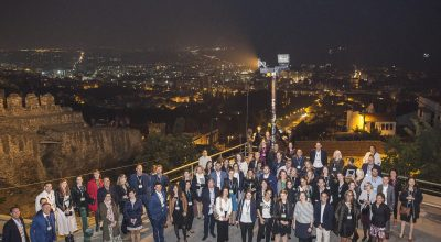 A group of delegates of the MCE South Europe 2018 event in Thessaloniki during a city tour.