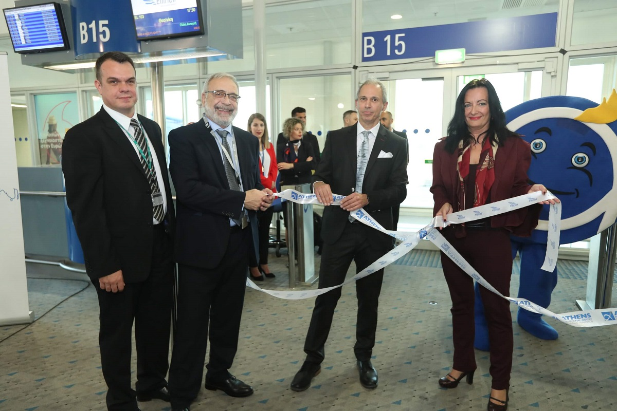 Athens International Airport (AIA) Developer Ioannis Novas; Ellinair Director Stavros Daliakas, Ellinair CEO Thanos Paschalis and AIA Director of Communications and Marketing, Ioanna Papadopoulou.