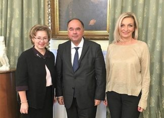 Russia's new Deputy Minister of Culture and Tourism, Olga Yarilova with GNTO's Russia & CIS Head, Polykarpos Efstathiou and vice president, Angeliki Chondromatidou.