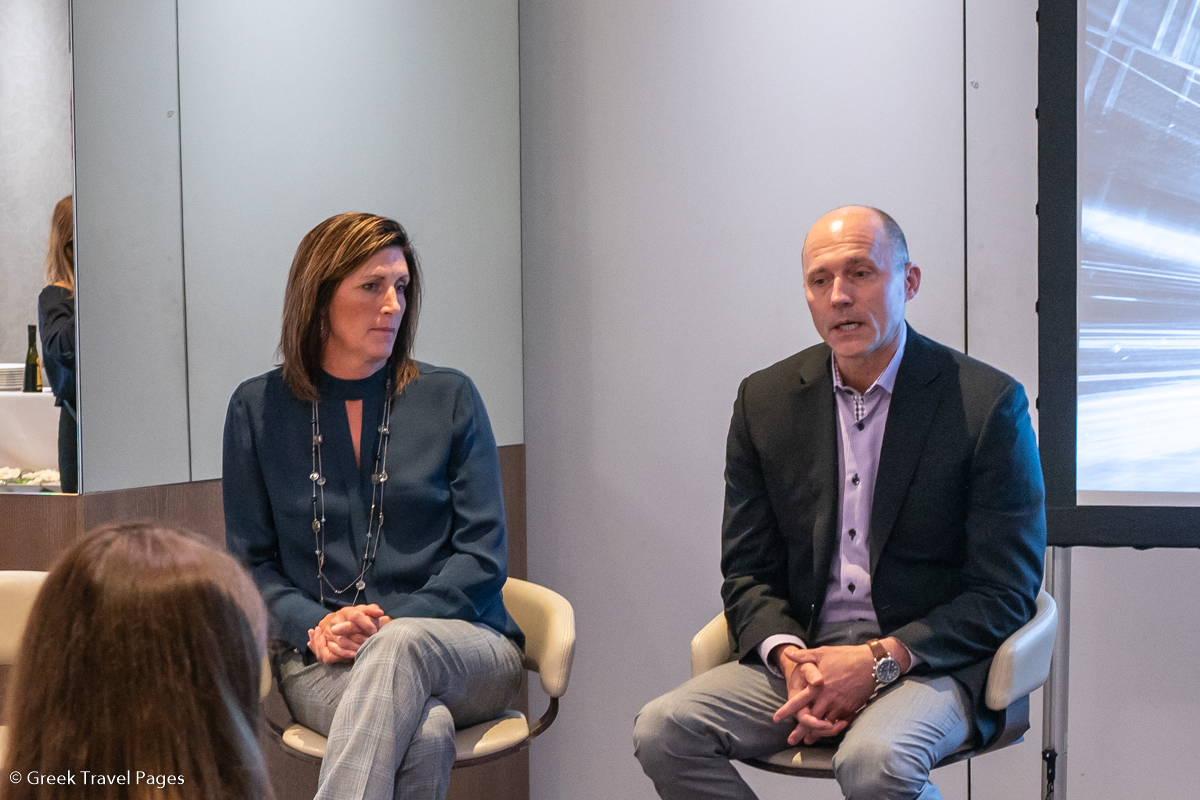 Kathy Morgan, VP of NDC, Sabre Travel Network and Sean Manke, CEO, Sabre Travel Network, during a Q&A session with journalists.
