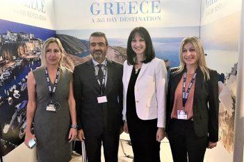 Greek Tourism Minister Elena Kountoura with Greek Marinas Association President Stavros Katsikadis.