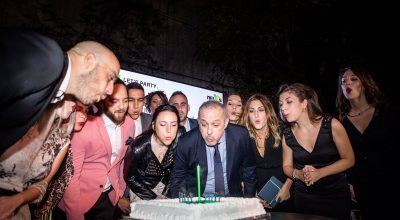 The Nelios team and CEO Dimitris Serifis cut the birthday cake.