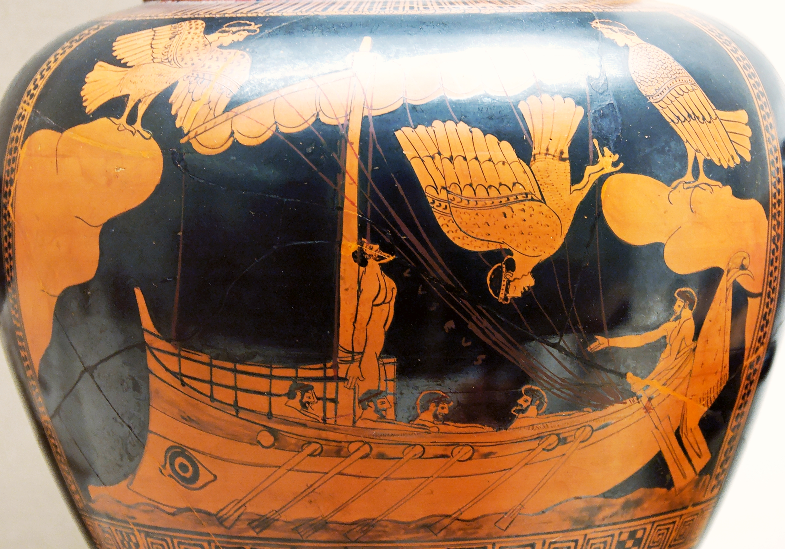 Odysseus and the Sirens. Detail from an Attic red-figured stamnos, ca. 480-470 BC. From Vulci. © Jastrow , via Wikimedia Commons