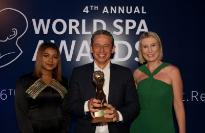Metaxas Group of Companies CEO Andreas Metaxas and World Spa Awards Managing Director Rebecca Cohen (R) during the awards ceremony.