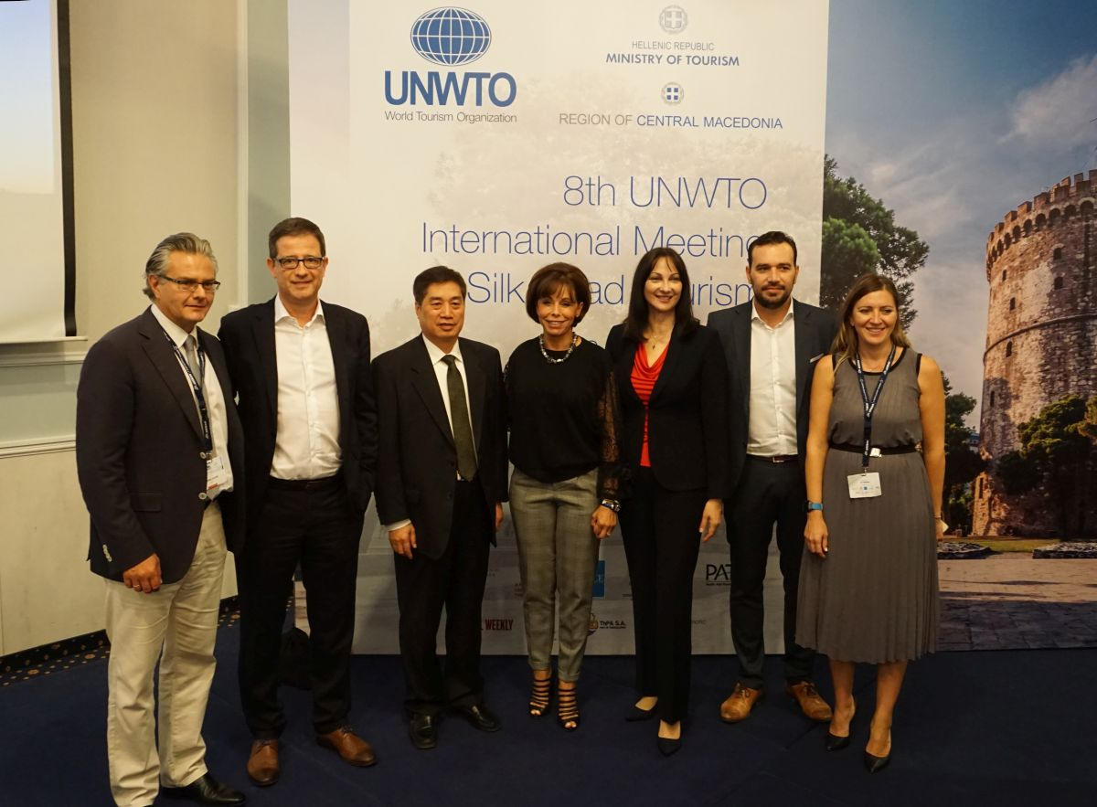 Thessaloniki Convention Bureau (TCB) President Yiannis Aslanis, Secretary General for Tourism Policy and Development George Tziallas, UNWTO Executive Director Shanzhong Zhu, Thessaloniki Tourism Organization President Voula Patoulidou, Greek Tourism Minister Elena Kountoura, Central Macedonia Vice Governor for Tourism and Culture Alexandros Thanos, TCB Vice President Irini Sidiropoulou.