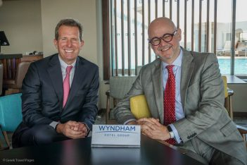 Geoff Ballotti, Wyndham's president and CEO, with Dimitris Manikis, Wyndham's managing director for Europe, Middle East, Eurasia and Africa (EMEA).