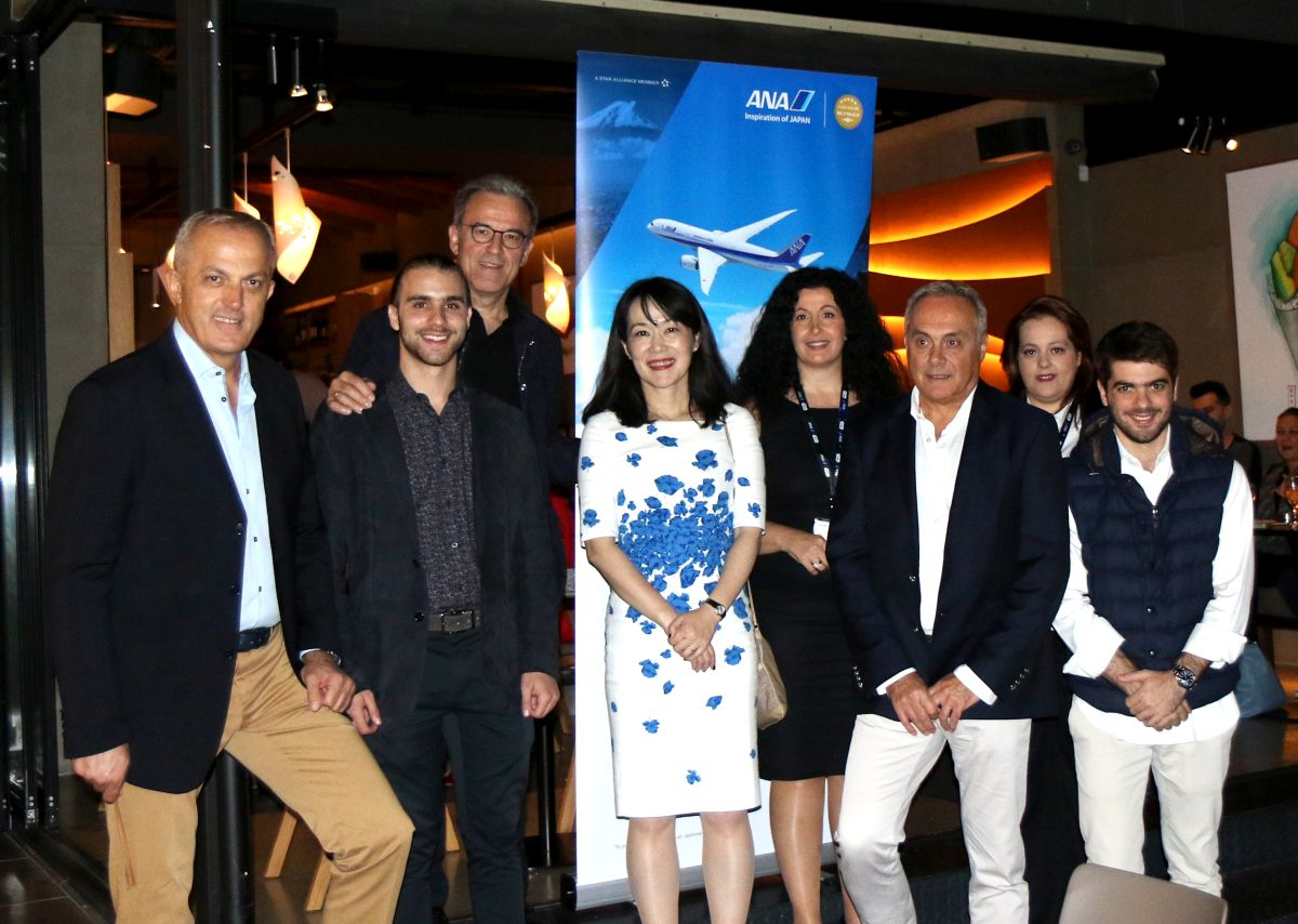 All Nippon Airways Chieko Dempsey, Senior Specialist Business Development and Sales of the Regional Headquarter for EU/MEA/Africa with representatives of the airline's GSA in Greece, Galant Hellas.