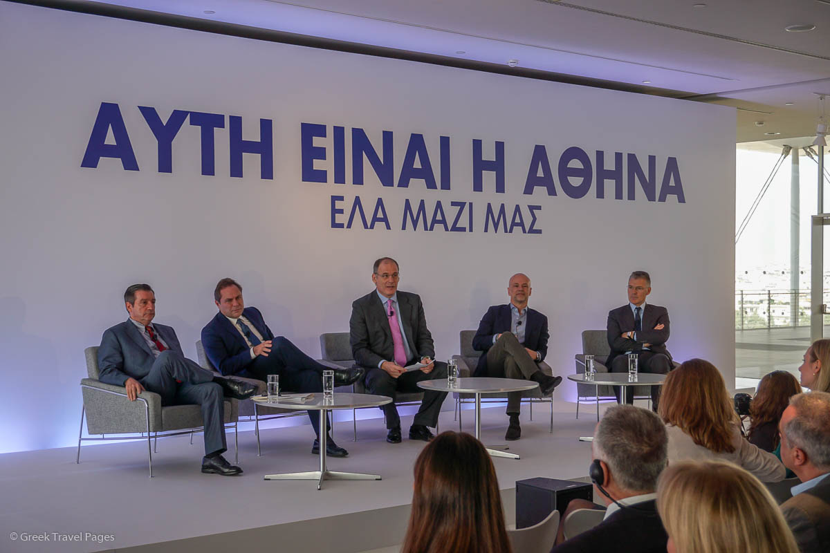 Athens Mayor Georgios Kaminis, AEGEAN President Eftychios Vassilakis, Greek journalist/coordinator Prokopis Doukas, SETE President Yiannis Retsos and AIA CEO Yiannis Paraschis.