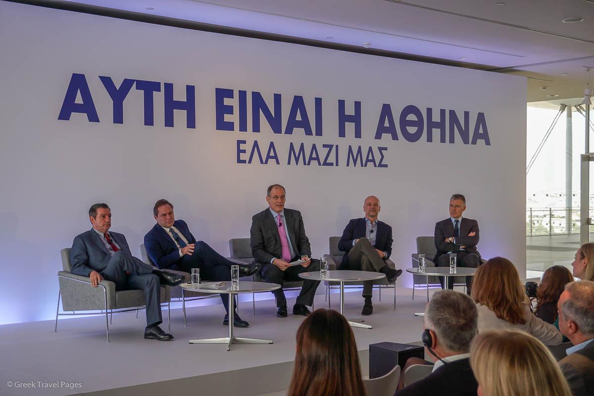 Athens Mayor Georgios Kaminis, AEGEAN President Eftychios Vassilakis, Greek journalist/coordinator Prokopis Doukas, SETE President Yiannis Retsos and AIA CEO Yiannis Paraschis.