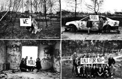 The first photo features Cali, a Greek-American from California and Mati. The second shows two young children from Mati. The third features the young people in one of the burned down homes in Kokkino Limanaki. The fourth photograph show the destroyed are of Neos Voutzas.