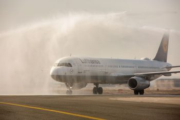 Lufthansa's Airbus A320 was welcomed to Thessaloniki's airport with a traditional water cannon salute.
