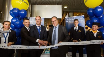 Ribbon cutting ceremony by Lufthansa Group's Konstantinos Tzevelekos, General Manager Passenger Sales Greece & Cyprus and Peter Pullem, Senior Director Sales Central, Eastern and Southeast Europe with George Vilos, Fraport Greece Executive Director Commercial & Business Development.