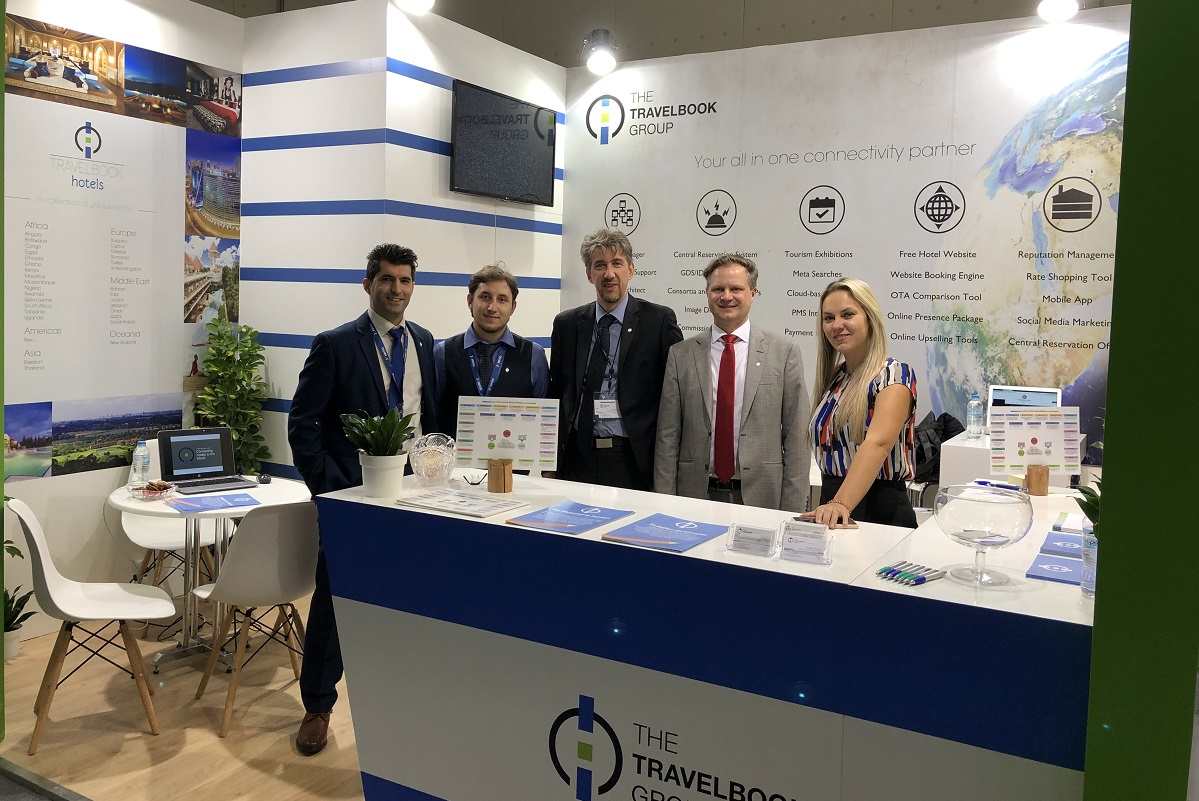"""Panagiotis Kalogeropoulos, sales manager of Athens' """"Ilisia hotel"""", a member of the Travelbook group; Spyros Aravanis of Greek Trails; Stavros Malamas, Business Development Manager for Greece; Andreas Burden, COO, and Laura Hudghton, PR & E-marketing Manager at Travelbook Group."""