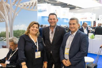 Celestyal Cruises' public relations manager, Froso Zaroulea; vice president commercial Europe, Andrew Magowan; and CEO, Chris Theophilides.