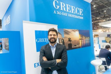 Ryanair Sales and Marketing Manager for the Eastern Med Nikolas Lardis at the Greek stand of WTM London 2018.