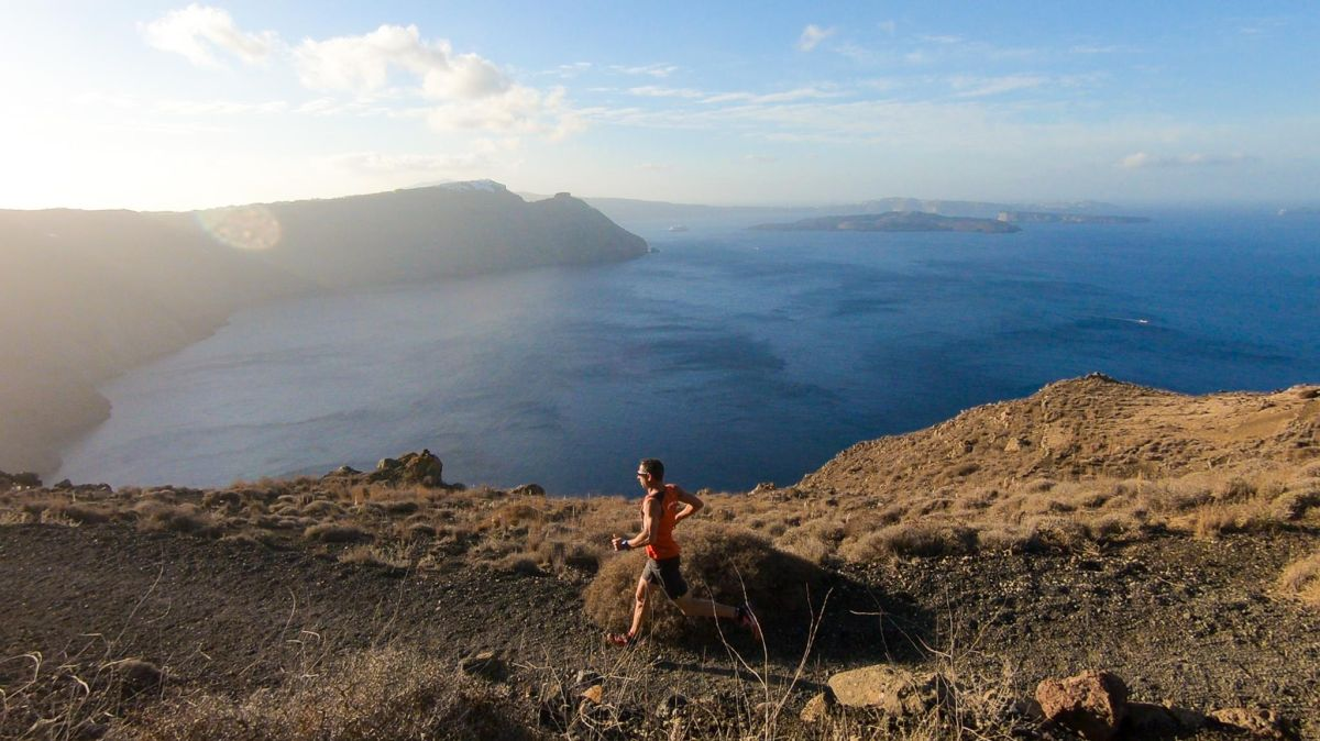 Running at Santorini Experience. Photo by Vassilis Sfakianopoulos (GoPro).