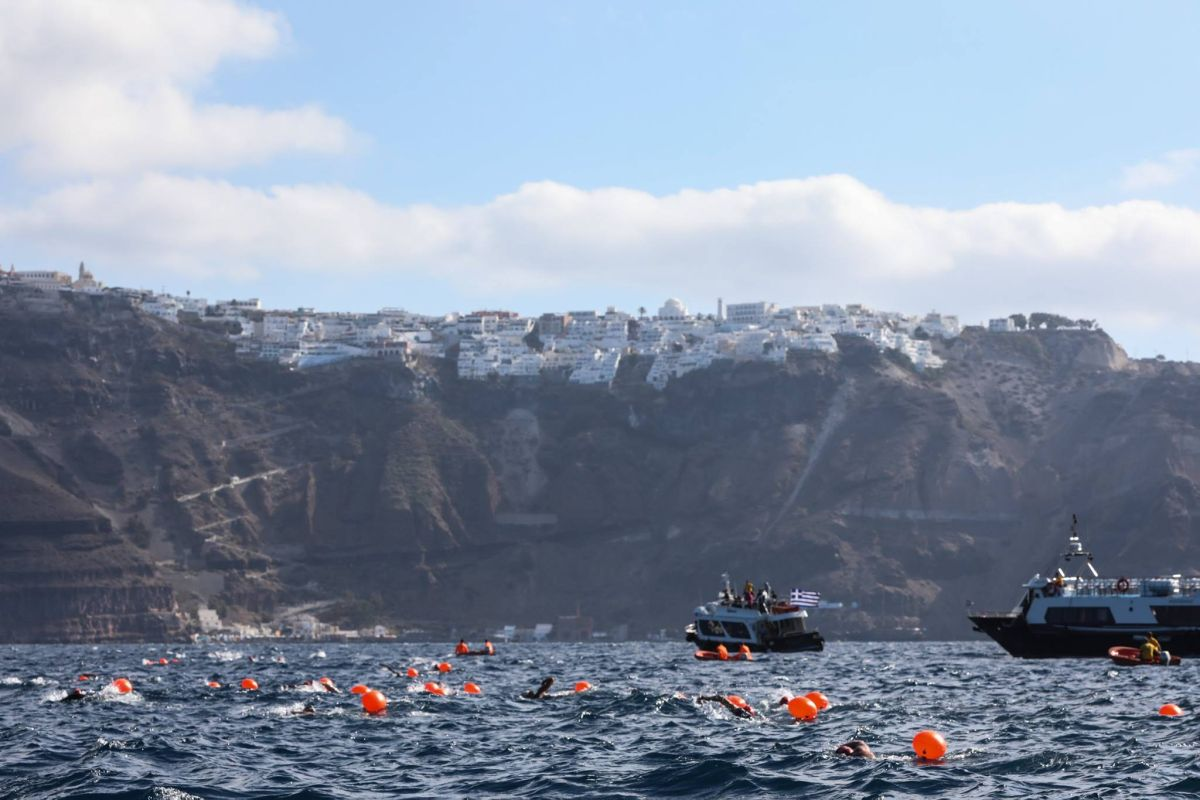 Swimming at Santorini Experience. Photo by Babis Giritziotis.