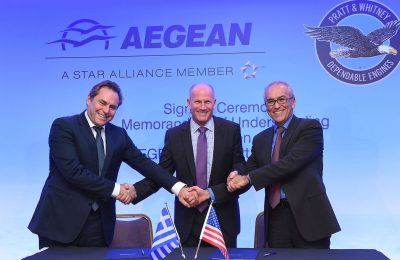 AEGEAN President Eftichios Vassilakis, Pratt & Whitney Senior VP of Sales, Marketing and Customer Support, Rick Deurlooof and AEGEAN CEO Dimitris Gerogiannis.