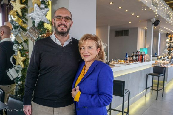 The president of the Athens – Attica & Argosaronic Hotel Association, Labrini Karanasiou-Zoulovits, with secretary general, Evgenios Vassilikos.