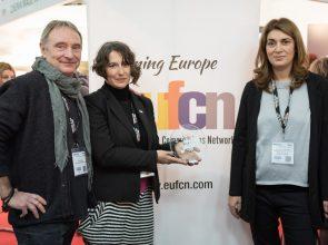 EUFCN President Truls Kontny and the Hellenic Film Commission's director, Venia Vergou and coordinator Stavroula Geronimaki.