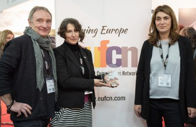 EUFCN President Truls Kontny and the Hellenic Film Commission's director, Venia Vergou and coordinator Stavroula Geronimaki.