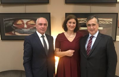 Sofitel Athens Airport General Manager George Stavrou; the exhibition's curator Agathi Zarakovitou and Andreas Spyropoulos, nephew of late Greek artist Penny Spyropoulou.