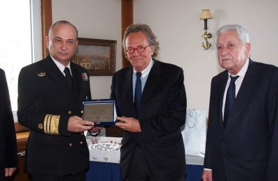 Hellenic Coast Guard Chief Vice Admiral Stamatios Raptis; EPEST president Antonis Stelliatos and Shipping Minister Fotis Kouvelis.