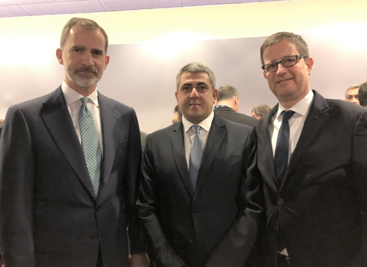 King Felipe VI of Spain, UNWTO Secretary General Zurab Pololikashvili and Greek Secretary General for Tourism Policy and Development George Tziallas, during the FITUR 2019 opening ceremony.