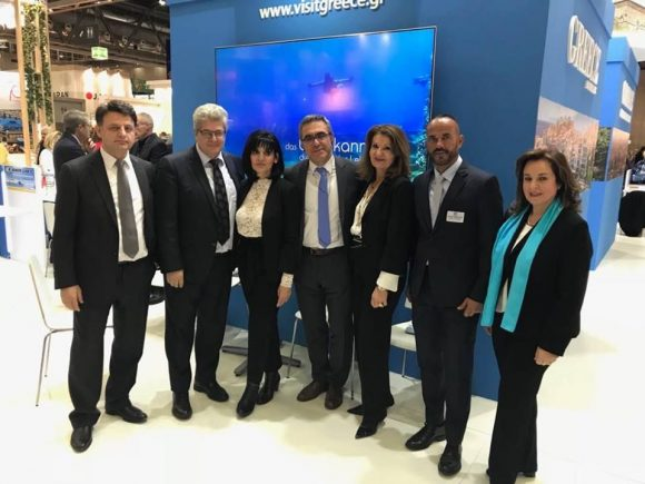Greek stand at the Ferien-Messe 2019 expo - Nikolaos Sapoutzis, head of Greek Embassy in Vienna; Mihalis Vrettakis, economic and commercial affairs adviser; Eleni Melita, head of GNTO office in Austria; Konstantinos Tsegas, secretary general of GNTO; Eleni Gerolymatou, head of GNTO PR Department; Ioannis Rafalias, PR officer of GNTo Austria; and Mary Lemoni, GNTO Austria.
